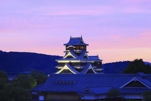 夕焼けの熊本城の写真素材 [FYI04912840]