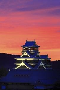 夕焼けの熊本城の写真素材 [FYI04912846]