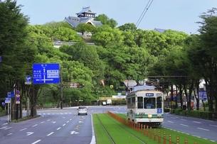 路面電車と熊本城の写真素材 [FYI04912859]