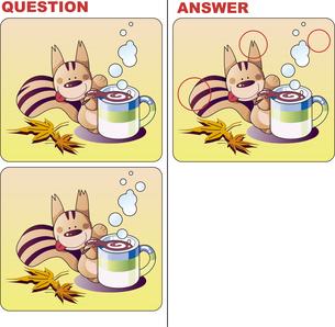 間違い探し絵クイズ,リスのティータイムのイラスト素材 [FYI04913069]