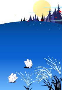 ススキ野に遊ぶ月夜のうさぎのイラスト素材 [FYI04913147]