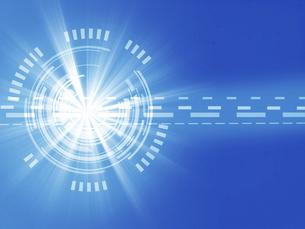 デジタル サイエンス 図形 光線 テキストスペース 抽象図形 ブルーのイラスト素材 [FYI04913212]