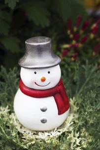 花壇に雪だるま君がやってきたの写真素材 [FYI04913231]