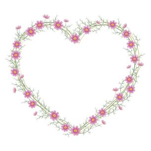 コスモスの花のハート型フレームのイラスト素材 [FYI04913360]