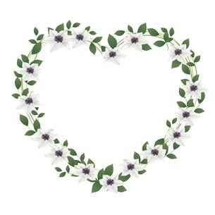 クレマチスの花のハート型フレームのイラスト素材 [FYI04913449]