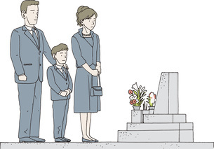 墓参りをする3人家族のイラスト素材 [FYI04913875]