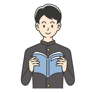 教科書を読む男子高校生のイラスト素材 [FYI04914170]