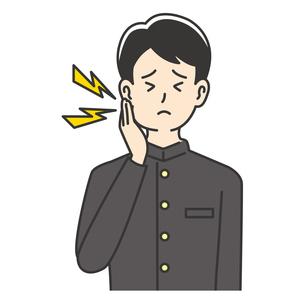 虫歯に苦しむ男子高校生のイラスト素材 [FYI04914172]