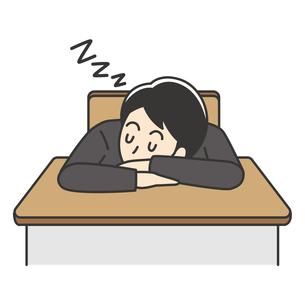 教室で寝る男子高校生のイラスト素材 [FYI04914177]