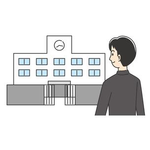 学校に登校する男子高校生のイラスト素材 [FYI04914179]