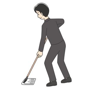 モップで掃除する男子高校生のイラスト素材 [FYI04914184]