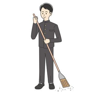 ほうきで掃除する男子高校生のイラスト素材 [FYI04914185]