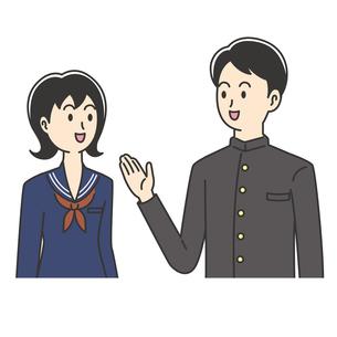楽しくおしゃべりする高校生のイラスト素材 [FYI04914187]
