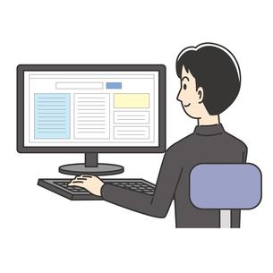 パソコン操作をする男子高校生のイラスト素材 [FYI04914195]