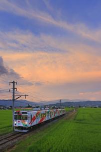 八木沢の田園を走るれいんどりーむ号と夕焼けの写真素材 [FYI04915333]