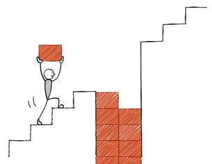 階段の穴を埋める 棒人間のイラスト素材 [FYI04916556]
