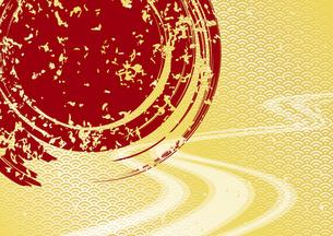 円と流水と青海波の和柄背景のイラスト素材 [FYI04916758]