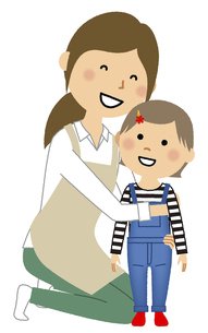 エプロンの女性と幼児のイラスト素材 [FYI04917647]