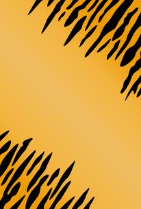 オレンジ色と黒の虎柄のはがきテンプレート【縦向きのデザイン】のイラスト素材 [FYI04917790]