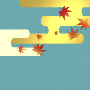 紅葉 秋 紅葉狩り 和風 和柄 もみじ テキストスペース 市松模様のイラスト素材 [FYI04917823]