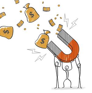 磁石でお金を吸い寄せる人のイラスト素材 [FYI04917824]