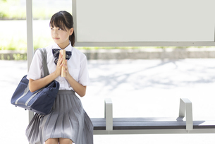 バス停に座る中学生の写真素材 [FYI04917917]