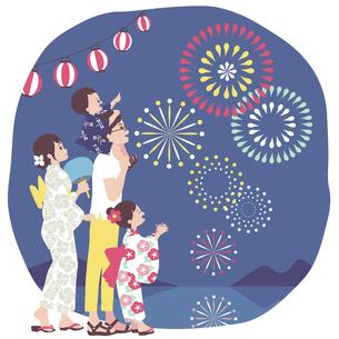 家族で花火大会のイラスト素材 [FYI04918072]