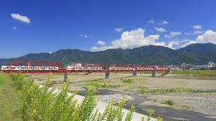 マツヨイグサ咲く赤い鉄橋を渡る輝くれいんどりーむ号の多重撮影の写真素材 [FYI04918396]