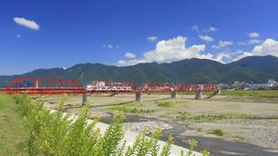 マツヨイグサ咲く赤い鉄橋を渡る輝くれいんどりーむ号の写真素材 [FYI04918397]