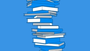 Stack of blue books isolated on blue background. Toon style illustration.のイラスト素材 [FYI04918484]