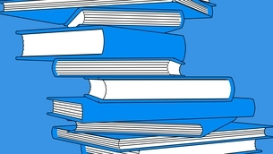 Stack of blue books isolated on blue background. Toon style illustration.のイラスト素材 [FYI04918512]