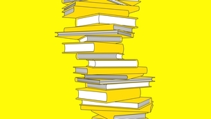 Stack of yellow books isolated on yellow background. Toon style illustration.のイラスト素材 [FYI04918532]