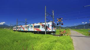 下之郷踏切を通過するれいんどりーむ号の写真素材 [FYI04918534]