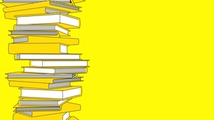 Stack of yellow books isolated on yellow text space. Toon style illustration.のイラスト素材 [FYI04918545]
