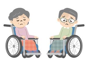 落ち込んだ感情の車椅子に乗ったシニア男女のイラスト素材 [FYI04918816]