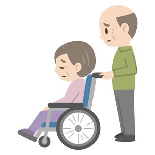 落ち込んだ感情の車椅子のシニア夫婦のイラスト素材 [FYI04918817]