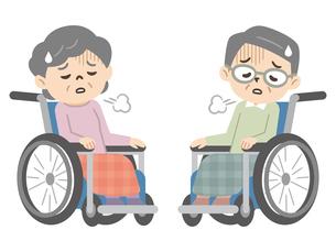 落ち込んだ感情の車椅子に乗ったシニア男女のイラスト素材 [FYI04918818]
