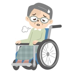 落ち込んだ感情の車椅子に乗ったシニア男性のイラスト素材 [FYI04918820]