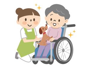 アニマルセラピー 動物とふれあうシニア女性と介護士のイラスト素材 [FYI04918886]