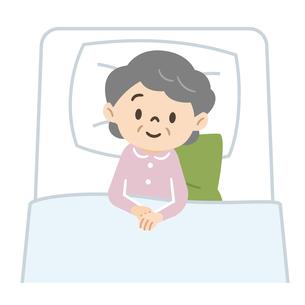 寝たきりのシニア女性のイラスト素材 [FYI04919468]