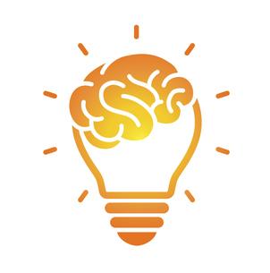 脳みそと電球のアイコン のイラスト素材 [FYI04919759]