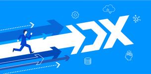 走るビジネスマンと矢印、DX促進のイメージイラスト、青バックのイラスト素材 [FYI04919768]