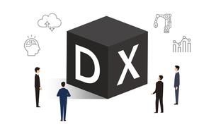 DXとアイコン、ビジネスパーソンのイラストイメージのイラスト素材 [FYI04919769]