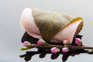 桜餅と桃の花の写真素材 [FYI04920092]