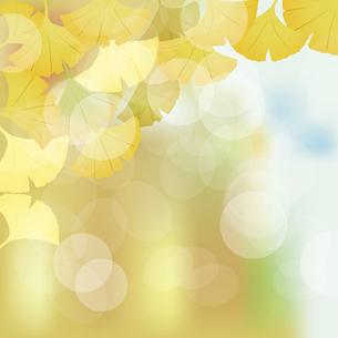 銀杏の葉と光とぼかしの背景のイラスト素材 [FYI04920679]