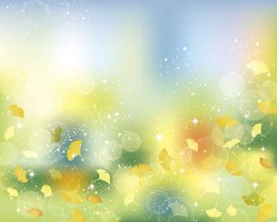 銀杏の葉と光とぼかしの背景のイラスト素材 [FYI04920683]