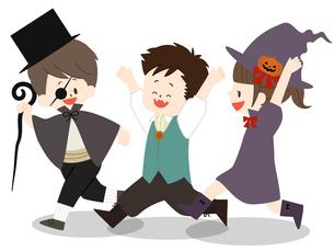 ハロウィンの仮装をしている子供たちのイラスト素材 [FYI04920753]