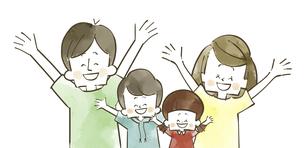喜んでいる4人家族-水彩のイラスト素材 [FYI04920759]