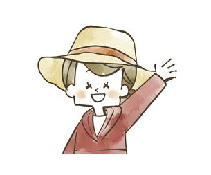 手を振っているアウトドアウェアの女性のイラスト素材 [FYI04920785]