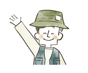 手を振っているアウトドアウェアの男性のイラスト素材 [FYI04920786]
